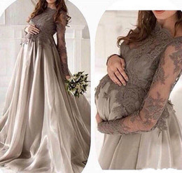 China Beautiful Lace Pregnant Evening Dresses Sheer Applique Long Sleeve Vestidos De Festa Party Dress Prom Formal Pageant Celebrity Gowns suppliers