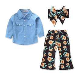 Wholesale Baby Floral outfits girls headband top chrysanthemum print Bell bottoms pants set Autumn suit Boutique kids Clothing Sets C4610