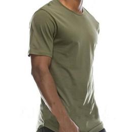 Discount long sleeve curve hem tee men - 2018 Male Short Sleeve T Shirt O-Neck Men Slim Fit Curved Hem T-Shirt Hip-Hop Lot Long Extended Tee Tops Shirt Male T Sh