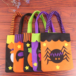 Discount girls hand bags new style - 7 Style Boys Girls Halloween Candy bags 2018 New Children Pumpkin Spider Bat ghost Non-woven fabric Hand bag baby toys B