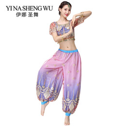 Discount sexy indian woman costumes - 2Pcs Set Bollywood Costume Top Pants Set Women Belly Dance Indian Stage Performance Trousers Sexy Sleeve Top Coin Belly