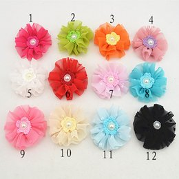 Wholesale 12pcs Hair Bands Accessories Lovely Kids Girls Lace woolen yarn Rose beautiful Flowers Pearl Hairband FJ037