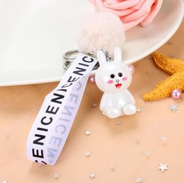 Discount toys trend - Small gifts cute creative hair ball bunny doll fashion key chain trend ladies bag key chain pendant small toys wholesale
