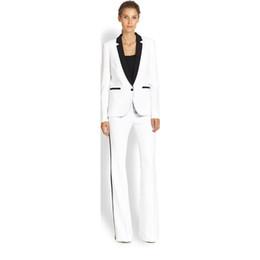 Vente en gros Veste + Pantalon Costume d'affaires des femmes Blanc Femme Bureau Uniforme Mesdames Formelle Pantalon 2 Pièce Costume Simple Poitrine Noir Revers