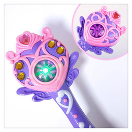 Plastic toy machine guns online shopping - Hot Sale Bubble Machine Magic Wand Fully automatic Bubble Gun Toy with Music and Light Beautiful For Children Gifts
