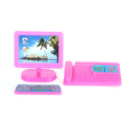 Toy Furniture Wholesale UK - 1SET New Pink Mini Monitor Keyboard Computer Fax Machine Set For Dollhouse Miniature Model Toys Accessories Girls New Gift