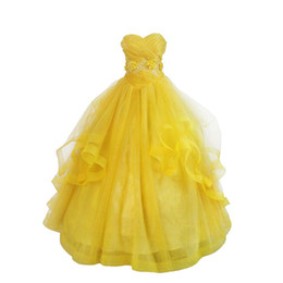 belle yellow dress cosplay 2021 - Women's Yellow Costume Dress for Belle Cosplay