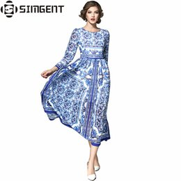 712283d5e42aa4 Long porceLain print dress online shopping - Simgent Womens Blue and White Porcelain  Printed Ruched Elegant