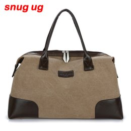 $enCountryForm.capitalKeyWord Australia - SNUGUG Canvas Leather Men Travel Bags Carry on Luggage Bag Men Duffel Bags Travel Tote Large Weekend Portable Computer Bag