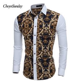 ChoynSunday DropShipping Camisa de hombre Fashion Casual Slim Fit Camisa de manga larga para hombres Print ASIAN SIZE en venta