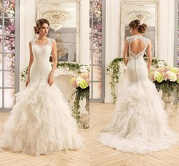 simple unique wedding dress sleeves 2019 - 2019 Vintage Retro Unique Tiers Ruffles Skirts Wedding Dresses Vestios Do Novia Sweetheart Cap Sleeves Lace Backless Mer
