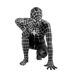 Chinese  Adult kid Black Spider Costume Cosplay Adult Costume Venom Black Spider Zentai Suit Dark Jumpsuit manufacturers