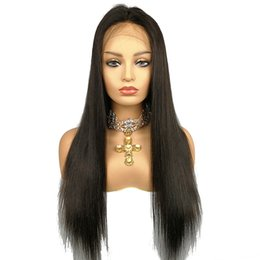 $enCountryForm.capitalKeyWord UK - Deep Part Lace Front Wig Human Hair Wig Silky Straight 130% Density Malaysian Virgin Hair Pre Plucked Hairline Full Lace Wig Bleached Knots