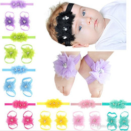 $enCountryForm.capitalKeyWord NZ - Infant Sandals Shoes Cover Barefoot Foot Flower Ties Baby Girl Kids First Walker Shoes Flowers Headband Set Photography Props 16 Colors 142