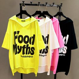 hooded tee shirts women 2019 - 2018 New Spring Summer Women's Solid Color Letters Print Loose T-shirt Casual Students Short-sleeved Long Hooded To