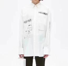 Chinese  18FW Raf Simons HELMUT Shirt Catwalk Show Cloth Men Women Fashion Oversized Long Sleeve Turn-down Collar Shirt S-L size Free Shipping 668 manufacturers