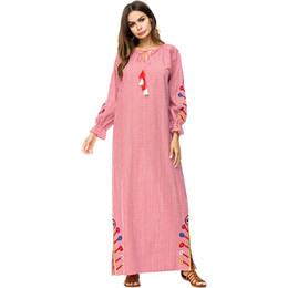 824d7c2243 187253 Muslin Long Sleeved Embroidered Robes Pink Plaid 2018 Autumn Fashion  New Style Korean Dresses Mujer Vestidos Musulman Gowns Abayas