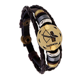 Discount zodiac sign beads - Atreus 12 Constellations Zodiac Signs Bracelet Braided Leather Bracelet Bead Brown pulseira For Men Women Charm Jewelry