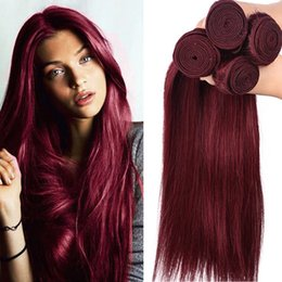 "Red Wine Burgundy Brazilian Virgin Hair Australia - 99J Wine Red Virgin Brazilian Human Hair Bundles 10-30"" Brazilian Burgundy Virgin Remy Hair Weaves 4Pcs Lot Straight Human Hair Double Wefts"