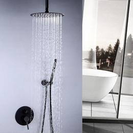 $enCountryForm.capitalKeyWord Australia - Rainfall in-wall Bathroom Black Finish Rain Shower faucet set 304 SUS Round Ultra Thin Showerhead set