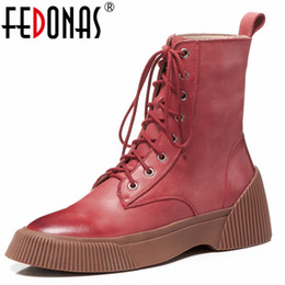 77eb8056f65b FEDONAS Fashion Punk Retro Women Ankle Boots Wedges High Heels Motorcycle  Boots Corss-tied Autumn Winter Short Basic
