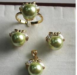 $enCountryForm.capitalKeyWord Australia - Free Shipping fancy jewelry set 10mm green shell pearl,ring, pendant & stud earring