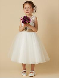 $enCountryForm.capitalKeyWord NZ - Princess Knee Length Flower Girl Dress - Lace   Tulle Sleeveless Jewel Neck with Bow(s)   Sash   Ribbon