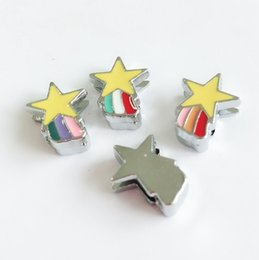 mix sliding charms Canada - 10PCs 8MM Enamel Mixed Color Star Slide Charms Letters DIY Accessories Fit 8mm Pet Collar Name Belts Bracelets