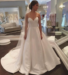 $enCountryForm.capitalKeyWord Australia - Fall Sweetheart A Line Wedding Dresses Simple Plus Size Pleat Train Satin Summer Beach Bridal Gowns Uk Vintage Empire Wedding Guest Party