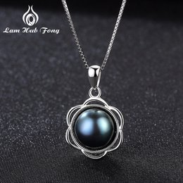 $enCountryForm.capitalKeyWord NZ - Luxury Black pearl necklace 925 Sterling Silver Pendant Natural Freshwater Pearl for Women Flower Shape Anniversary Gift Wedding S18101105