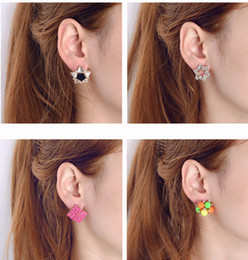 Korean earrings mix online shopping - Top Quality Factory Exquisite Diamond Earrings Korean Fashion All match Small Earrings Ear Clip Mixed Batch