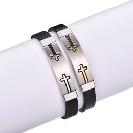 $enCountryForm.capitalKeyWord UK - 1pc 2018 Fashion Cool Wristband Jewelry Womens Mens Double Cross Stainless Steel Silicone Buckle Bracelets Bangle Drop Shipping