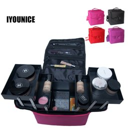 Discount fabric folding box case - Multilayer Toolbox Suitcase Women Cosmetic Organizer Makeup Box Large Cosmetic Bag Professional Case Beauty Vanity Box