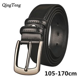 Discount plus size fashion belts - 105-170cm Big Size Genuine Leather Belts Men High Quality Casual Leather Belts Of Men Plus Size Strap Male Pin Buckle Wa