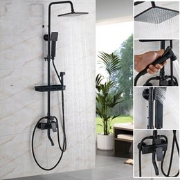 Wholesale Black Wall Mounted quot Rain Shower Faucet Mixer Set with Bathroom Commodity Shelf Swivel Tub Spout Hand Shower Bidet Sprayer