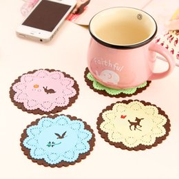 Cartoon Table Accessories Australia - 1pc Cartoon Animal Coaster Creative Placement for Mugs Cup Table Decoration Kawaii Stationery Office Desk Set Accessory Supplies