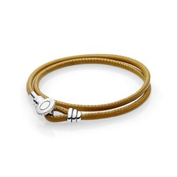 China 2018 Hot sale Summer Series 925 silver MOMENTS Golden Tan Double Leather Bracelet with Button Clasp Charm Bracelet DIY Jewelry cheap golden spring rings suppliers
