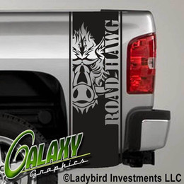 Chevy Wholesale Australia - For Universal 1Set 2Pcs Road Hawg Wild Boar Tribal Truck Bed Decal x2 - Ram Chevy Ford - Stickers