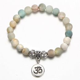 $enCountryForm.capitalKeyWord Canada - Vintage OM Rune Strand Bracelets & Bangles For Women Men Natural Stone Handmade Cuff Wristband Beads Yoga Bracelet Gift