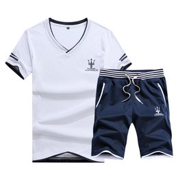 Wholesale make t shirts for sale – custom Summer Casual Tracksuit Cotton Made Men Short Suit V Neck T Shirt With Short Pants Set Beach Holiday Tracksuits