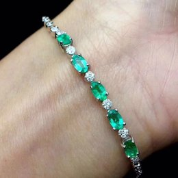 Discount precious gold - Natural Emerald 100% 925 Sterling Silver Bracelet for Women Vintage Fine Jewelry Wedding Precious Gift for Mother
