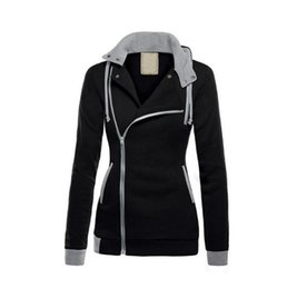 Discount spell clothes - Hot selling 2018 spring Inclined zipper Women Hoodies Overcoat Winter Warm Jacket Women's clothing Plus Size Spell