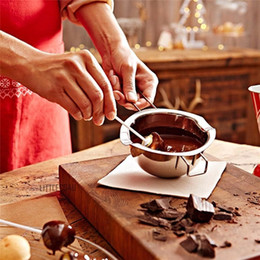 Discount sugar pots - 304 Material Stainless Steel Chocolate Melting Pot Double Boiler Cheese Caramel Homemade Cosmetics Melted Tank Sugar Bow