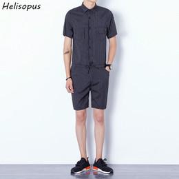 $enCountryForm.capitalKeyWord Australia - Helisopus Men Bib Cargo Short Pants Jumpsuits Fashion Striped Design Harajuku Style One Piece Overalls Male Rompers Asian Size