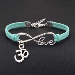 $enCountryForm.capitalKeyWord Canada - Infinity Love 3D Bracelets For Women Men Fashion Charm Bracelets & Bangles Rope Light Green Leather Jewelry Vintage Pulseira Pulsera Mujer