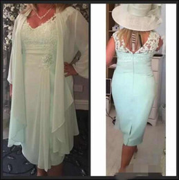 Discount modern casual wedding dress - Mint Mother of the Bride Dresses With Wrap Plus Size Casual Chiffon Lace Elegant Evening Gowns Wedding Guest Dresses
