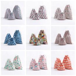 Gift set storaGe online shopping - Christmas Gift Bag Flamingo Storage Bag Cotton Linen Drawstring Bundle Bags Candy Tea Gift Wrap Bag Decorations set GGA704