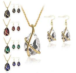 7d47781578bb 2018 Venta caliente Diamond Crystal Drop Necklace Earrings Conjuntos de  Joyas de Oro Cage Ear Cuff Cadenas Pendientes de Regalo de La Joyería de La  Boda ...