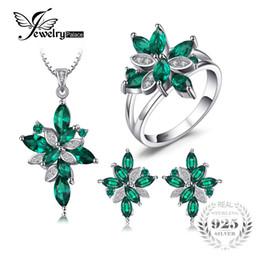 e652e3559341 Joyería Mystic Green Creado Esmeralda Conjunto de joyas Anillo de plata de ley  925 Collar pendiente Pendiente Clip Mujeres Conjunto nupcial