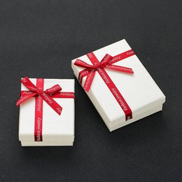 packaging bows NZ - Fashion packaging double sponge gift box, bow jewelry box, paper jewelry gift box wholesale and retail